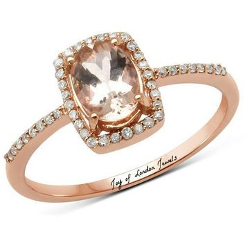 14K Rose Gold Natural 1.2CT Oval Cut Peach Morganite & White Diamonds Halo Ring