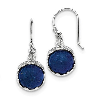 Sterling Silver Leaf Design Lapis Lazuli Shepherd Hook Earrings