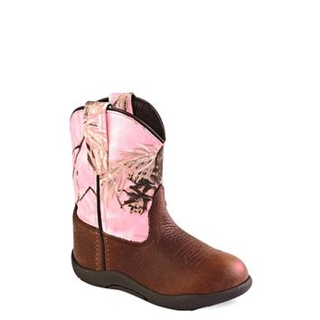 Old West Toddler's Tubbies Pink Camo & Leather Boots