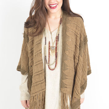 Mocha Open Knit Shawl with Fringe Hem
