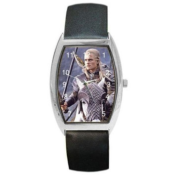 "Orlando Bloom "" Legolas "" Lord of the Rings on a Barrel Watch with Leather Band"