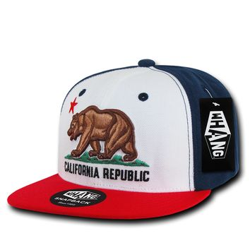 California Republic State Bear Flag Snapback Hat Red White Blue