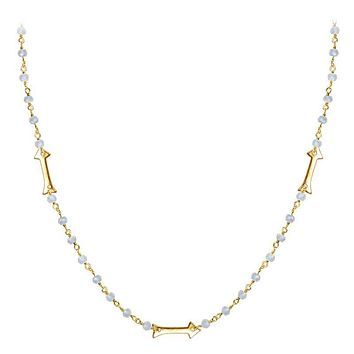 "CHG-203-RM-18"" 18K Gold Overlay Necklace With Rainbow Moonstone"