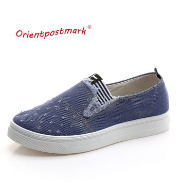 Women's Jeans Shoes flats Fashion Casual Denim Shoes Breathable New Arrival Shoes High Quality Soft Soles Students Canvas Shoes