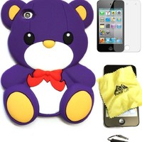 Bukit Cell PURPLE 3D TEDDY BEAR WITH BOW Soft Silicone Skin Case Cover for iPod Touch 4 4G 4th Generation + BUKIT CELL Lint Cleaning Cloth + Screen Protector + METALLIC Touch Screen STYLUS PEN with Anti Dust Plug [bundle - 4 items: case, cloth, stylus pen