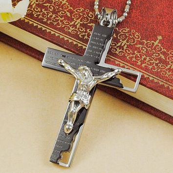 Rose Gold Silver Black Classic Roman Catholic Stainless Steel Jesus Crucifix Pendant & Necklace For Men or Women