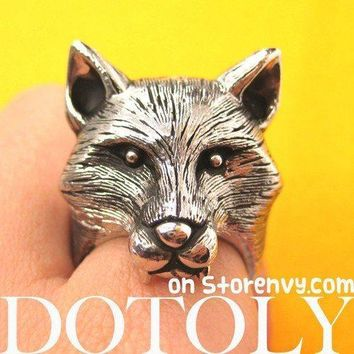 3D Adjustable Fox Werewolf Animal Ring in Shiny Silver with Fur Detail