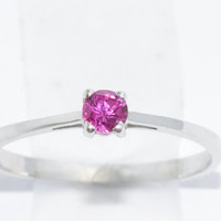 3mm Ruby Round Ring .925 Sterling Silver Rhodium Finish White Gold Quality