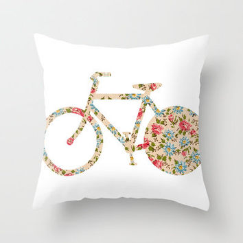 Whimsical cute girly floral retro bicycle Throw Pillow by Girly Trend