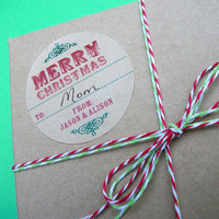 Custom KRAFT Merry Christmas Canning jar labels, 2 inch round stickers for holiday gifts, mason jars, jam and jelly jars