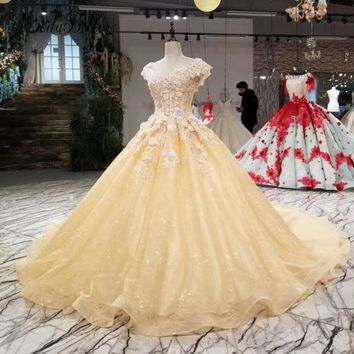 modabelle Lace Prom Dresses Luxury 2018 Appliques 3D Flowers Beaded Floral Light Yellow Ball Gown Women Formal Dress Evening