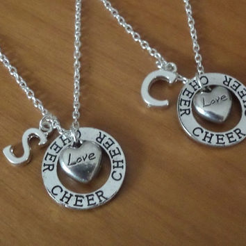 2 Love Cheer Necklaces - Couples Necklace - His and Hers - Best Friend Necklace - Boyfriend Girlfriend Gift, Cheer Necklace Initial Name