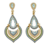 Gold Tone Fashion Earrings with Blue Green and White Beads