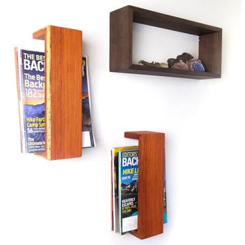 Padauk Floating Magazine Rack