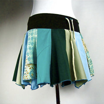 Sale Skirt Upcycled OOAK Patchwork Short Medium Drawstring Hoop Festival Gypsy Pixie Hippie Rave Elf Pointy Mini Tattered Blue Green Pocket
