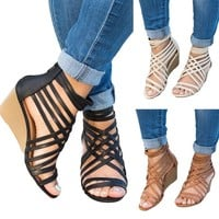 Women's Wedge  High Heels Platform Sandals Shoes Strappy Toe Gladiator Pumps