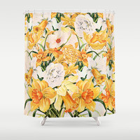 Wordsworth  and daffodils.  Shower Curtain by Anipani