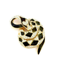 Atwood & Sawyer Snake Brooch, Black Enamel, Pave Ice Rhinestones, Coiled Snake, Gold Plated, Three Dimensional, Vintage Figural, Signed