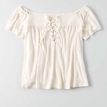 AEO Lace-Up Off-the-Shoulder T-Shirt, Cream