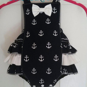 Girls Nautical Navy Blue Romper - Girls Anchor Romper - Girl Ruffled Romper - Retro Bubble Romper - Snap Crotch Sunsuit - Custom Sizes 3M-2T