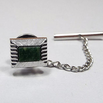 Moss Agate Gemstone Tie Tack, Green Tie Tack, Cut Edge Silver Tone Square, Retro 1980s 80s, Modernist Gentleman, Spring Jewelry