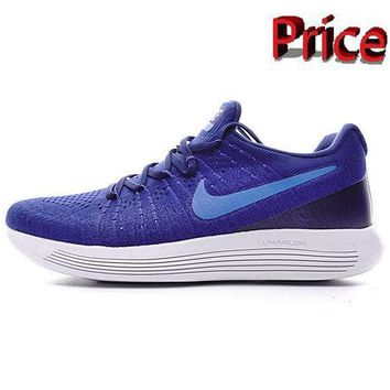 Factory Authentic Men Nike LunarEpic Low Flyknit 2 Trainers 2017 Lyon Blue Medium Blue shoes