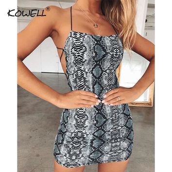 New Sexy Cross Bandage Backless Bodycon Dress Women Sleeveless Halter Summer Dress Snake Print Short Party Casual Mini Dress