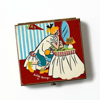 Hilda Terry Teen Girl Powder Compact, 1950's Comic Strip, Rex-Teen Compact, Slick Chick Compact, 1950's Fashion, Back to School