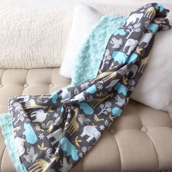 Monogram Aqua and Grey Safari Baby Stroller Blanket