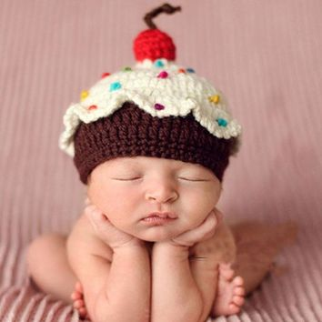 Retail samples Baby Cupcake Crochet hat Custom Made Baby Crochet Cake Hat Newborn Photography Prop Baby hat 1pc free shipping