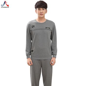 JCVANKER New Arrival Spring Autumn Cotton Pajamas Set For Man Grey Black Shirt Sleeve Male Sleepwear Home Indoor Clothing