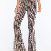 H.I.P. Vertical Floral Print Womens Flare Pants Cream/Black  In Sizes