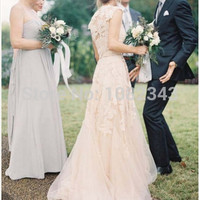 2015 Champagne Romantic Beach Dresses V Neck Cap Sleeves Bridal Wedding Gown Vintage A Line White Lace Long Wedding Dresses
