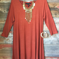 Simplicity is Key Tunic Dress: Rust