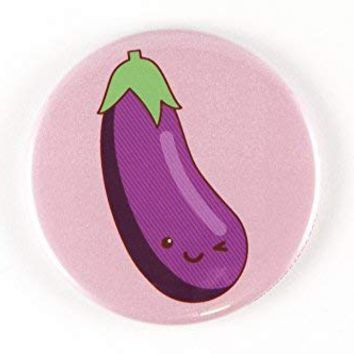 Funny Rude Winking Eggplant Emoji Magnet, Pinback Button, or Pocket Mirror