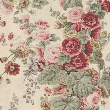 Clarence House Fabric JM1195 Jubilee Bouquet Chin Red/Green