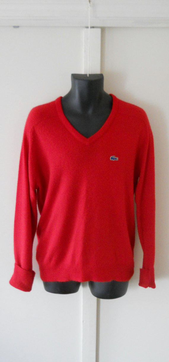Izod Lacoste Sweater Mens V Neck Mens From Thevillevintage On