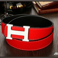 Hermes Wild Wide Leather Belt Men's Belt Red