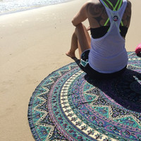 Indian Mandala Round Free Spirit Roundie Beach Throw Tapestry Hippy Boho Gypsy Cotton Tablecloth Beach Towel , Round Yoga Mat