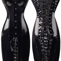 Free shipping Lady Black Fetish PVC good quality !!!!!!!!!!! Lace Up Wetlook Mini Dress PVC Faux Leather Corset