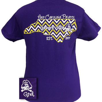 ECU East Carolina Pirates Chevron State Girlie Bright T Shirt