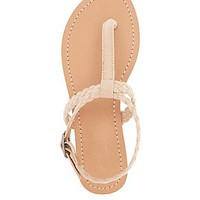 BRAIDED T-STRAP THONG SANDALS