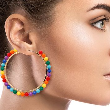 Gold Hoop Earrings Wrapped with Rainbow Beads