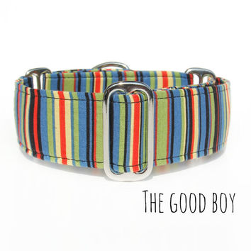 Preppy Striped Fun Dog Collar, Martingale Tag or Buckle Collar, Breed sizes: Italian Greyhound, Whippet, Boxer Dog, Mastiff, Great Dane,