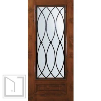 Slab Single Door 80 Wood Alder La Salle 1 Panel 3/4 Lite Wrought Iron