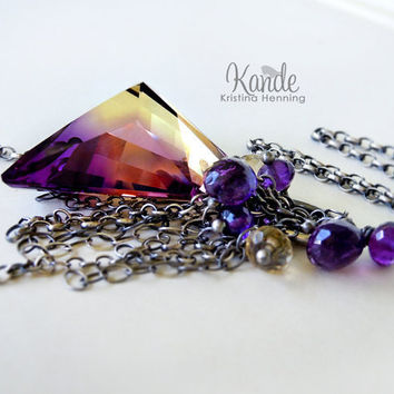 Ametrine Gemstone Necklace Oxidized Silver Purple
