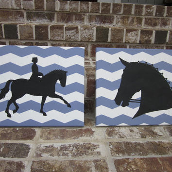 Horses / Horse Dressage / Horse Show on Chevron Pattern - Handpainted Paintings Set Wall Decor Art - You customize!