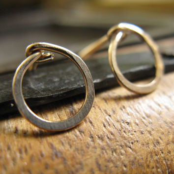 Small Gold Hoop Post Earrings