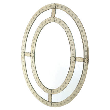 Mirrors, Oval Antiqued Trimmed Wall Mirror, Small Accent Mirrors
