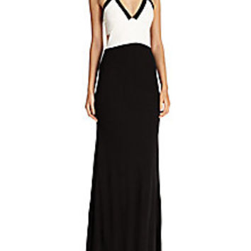 ABS - Jersey Bicolor Halter Gown - Saks Fifth Avenue Mobile